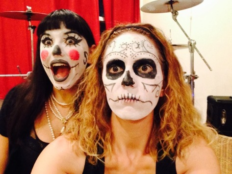 Nicolette (left) and Axia (right) of Go Betty Go before their Day of the Dead StageIt.com performance